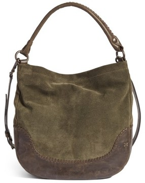 Frye Melissa Suede & Whipstitch Leather Hobo - Green