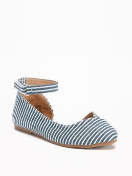 Old Navy Striped Canvas Pointy-Toe Flats for Toddler Girls