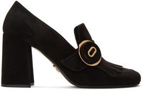 Prada Black Fringed Loafer Heels