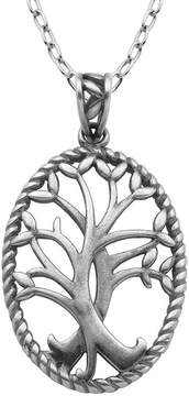 Celtic FINE JEWELRY Sterling Silver Tree Oval Pendant Necklace