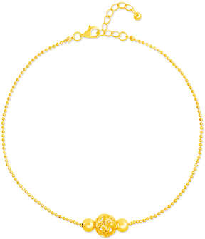 Bliss 14k Gold-Plated Heart-Openwork Sphere Anklet