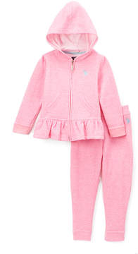 U.S. Polo Assn. Neon Pink Ruffle Hoodie & Joggers - Toddler