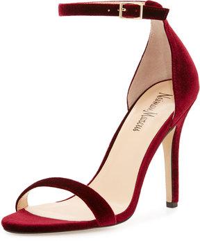 Neiman Marcus Beckah Velvet Ankle-Wrap Sandal, Burgundy
