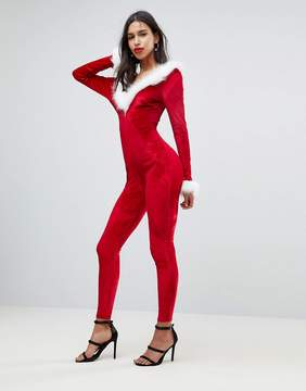 Club L Sexy Santa Holidays Catsuit With Faux Fur Trim