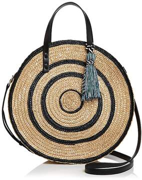 Rebecca Minkoff Straw Circle Tote - BLACK MULTI/SILVER - STYLE