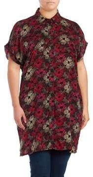 Context Plus Printed Cold-Shoulder Shirt