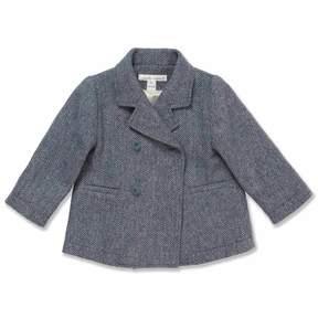Marie Chantal Baby Boy Grey/Blue Wool Pea Coat