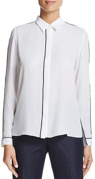 T Tahari Tyra Piped Button-Down Top