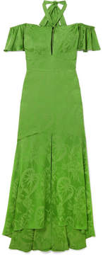 Temperley London Orbit Off-the-shoulder Satin-jacquard Gown - Green