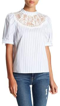 Flying Tomato Short Sleeve Lace Striped Blouse