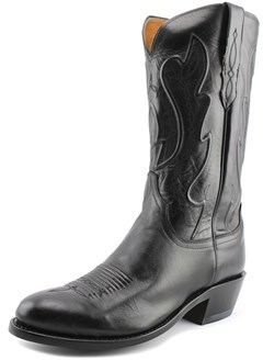 Lucchese Ranch Hand Men 2e Round Toe Leather Black Western Boot.