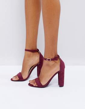 Glamorous Burgundy Barely There Block Heeled Sandals