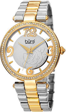 Burgi Womens Two-Tone Etched Rose Dial Watch