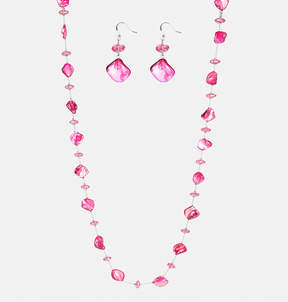 Avenue Pink Shell Necklace Earring Set