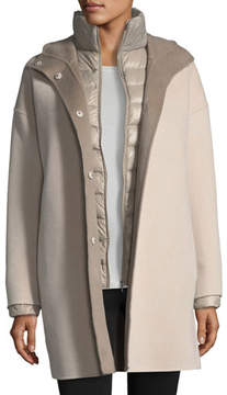 Fleurette Cashmere Double-Face Hooded Wool Coat w/ Ultra Light Down Jacket