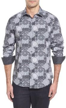Bugatchi Men's Slim Fit Collage Print Sport Shirt