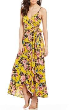 Band of Gypsies Chrysanthemum Floral Print Faux Wrap Midi Dress