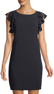 T Tahari Tindra Ruffle-Trimmed Shift Dress