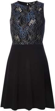 Dorothy Perkins Black and Blue Lace Skater Dress