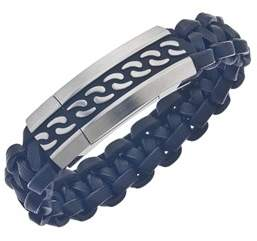 Armani Exchange Jewelry Mens Leather Id Bracelet In Stainless Steel.