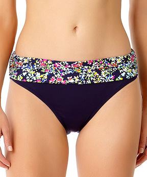 Anne Cole Navy Floral-Trim Fold-Over Bikini Bottom