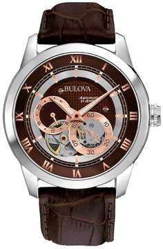 Bulova Stainless Steel Automatic Skeleton Leather Watch - 96A120 - Men