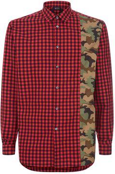 N°21 N 21 Checked Camo Panel Shirt
