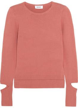 DKNY Cutout Cotton-blend Sweater - Brick