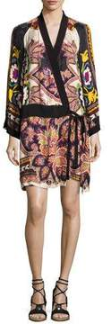 Etro Paisley Kimono Wrap Minidress, Ivory/Black/Multicolor