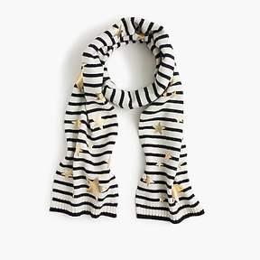 J.Crew Girls' striped knit scarf with gold stars
