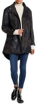 BCBGeneration Rubberized Hooded Camo Print Anorak Jacket