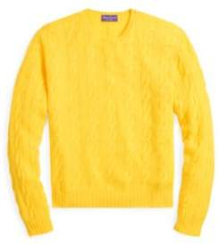 Ralph Lauren Cable-Knit Cashmere Sweater Classic Lemon Yellow S