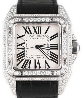 Cartier Santos 100 XL Diamond Bezel With Leather Band Mens Watch