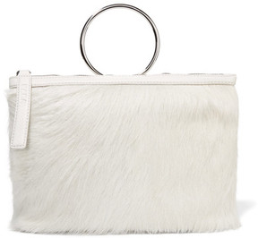 KARA - Ring Textured Leather-trimmed Calf Hair Clutch - Off-white