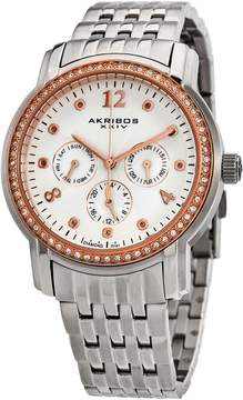 Akribos XXIV Akribos Multifunction Pink Dial Stainless Steel Ladies Watch AK626SS