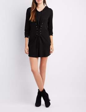 Charlotte Russe Lace-Up Detail Hooded Sweatshirt Dress