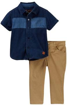7 For All Mankind Button Up Shirt & Pant Set (Baby Boys)