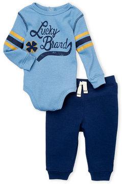 Lucky Brand Newborn Boys) Thermal Logo Bodysuit & Sweatpants Set