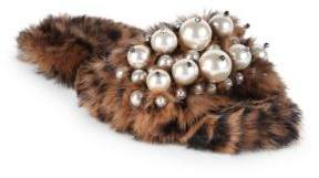 Miu Miu Embellished Leopard-Print Rabbit Fur Slides