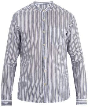 Oliver Spencer Grandad-collar striped cotton-blend shirt