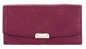 Burberry Check Embossed Leather Wallet - PURPLE - STYLE