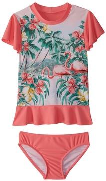 Seafolly Girls' Hawaiian Rose Rashguard Set (2T7) - 8164618
