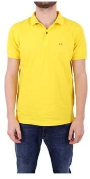 Sun 68 Men's Yellow Cotton Polo Shirt.