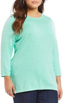 Allison Daley Plus Wide Crew Neck Solid Raised Polka Dot Pullover Sweater