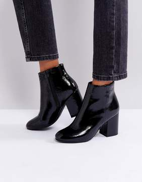 New Look Patent Round Toe Heeled Boot