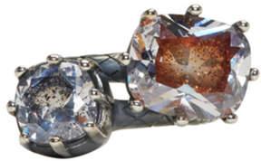 Bottega Veneta Gunmetal Double Cubic Zircon Ring