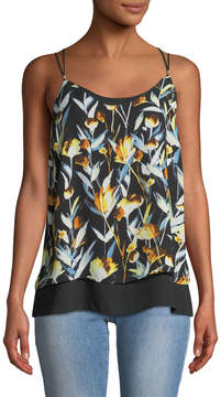 Carmen Marc Valvo Carmen By Floral Layered Chiffon Camisole Blouse