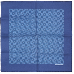 Hermes Women's Vintage Navy Belted Silk Pocket Square, 16 x 16