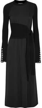 3.1 Phillip Lim Paneled Jersey And Cotton-blend Midi Dress - Black