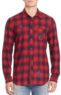 Hudson Long Sleeve Plaid Distressed Shirt